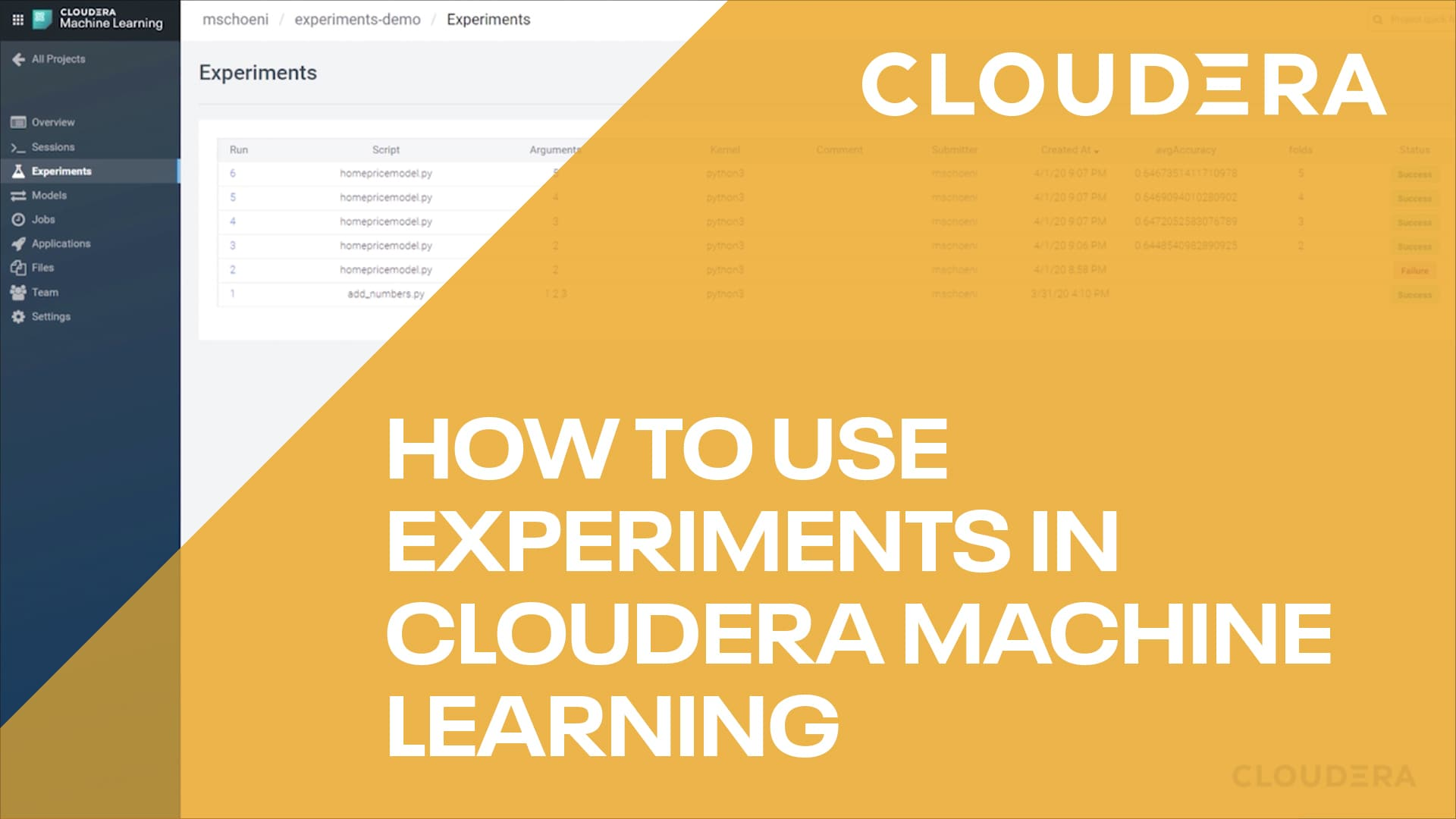How to use experiments in Cloudera Machine Learning video